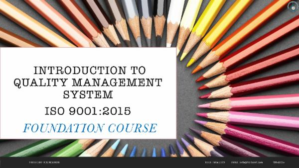 ISO 9001:2015 Foundation Training cover