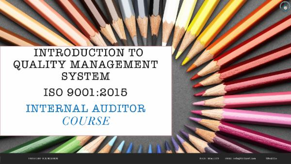 ISO 9001:2015 Internal Auditor training cover