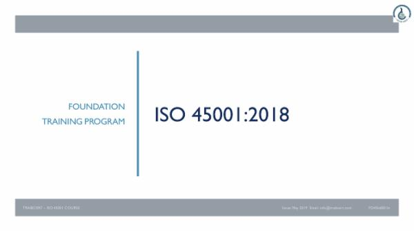 ISO 45001:2018 Foundation Course cover